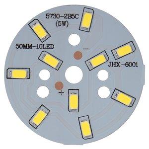Плата со светодиодами 5 Вт (холодный белый, 600 лм, 50 мм)