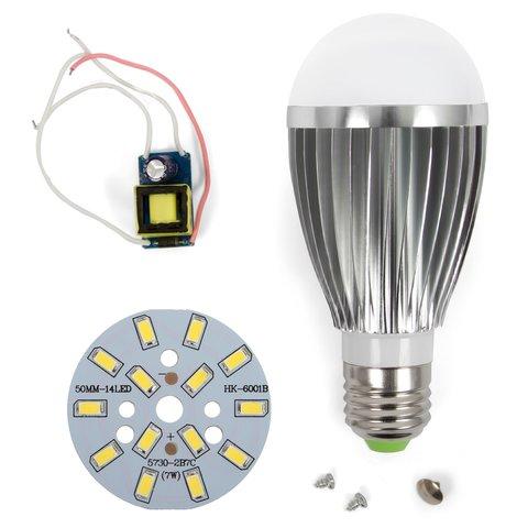 Комплект для збирання лампи, SQ-Q03, 5730 7 Вт, E27, CW (холодний білий), регулювання яскравості (димірування)
